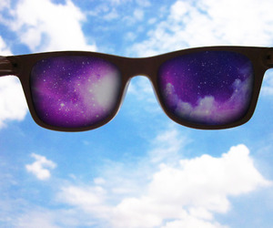 blue, raybans, and clouds image