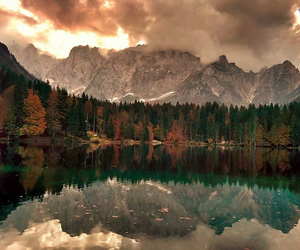 autumn, sky, and water image