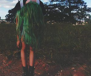 explore, green hair, and grunge image