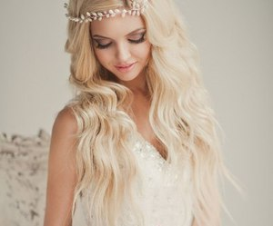 blonde and flowers image