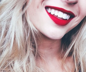 smile, girl, and red image