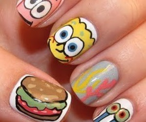 nails, spongebob, and patrick image