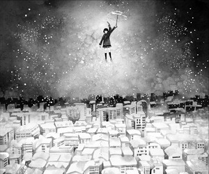 girl, city, and umbrella image