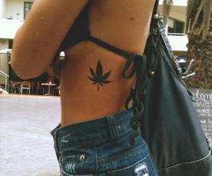 girl, tattoo, and weed image