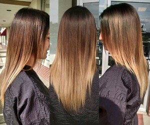 blonde, brunette, and hairstyle image