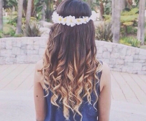 hair, flowers, and ombre image