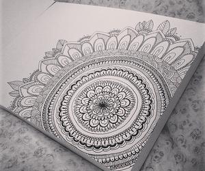 drawing, girl, and mandala image