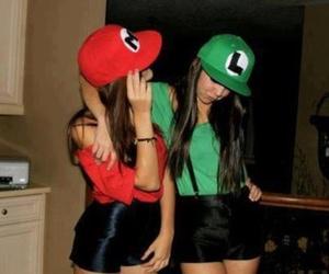 girl, mario, and luigi image
