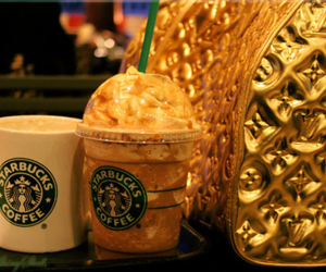 starbucks, gold, and Louis Vuitton image