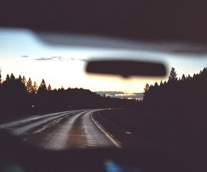 car, road, and sunset image