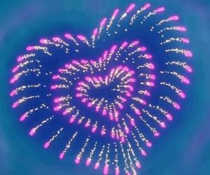 fireworks, heart, and pink image