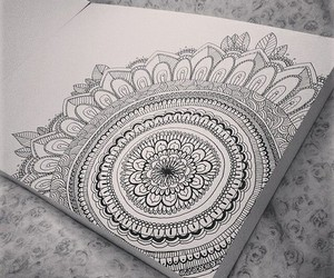 drawing, girl, and mandala image