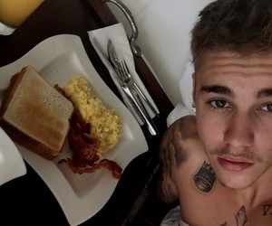 justin bieber, breakfast, and bed image