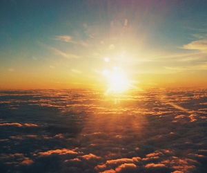 clouds, flight, and sunset image