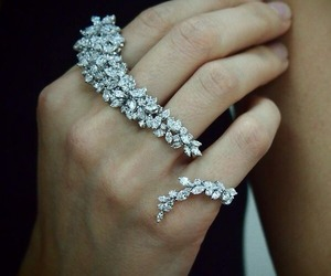 ring, diamonds, and hand image