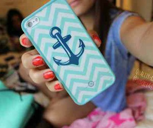 phone case, anchor, and blue image