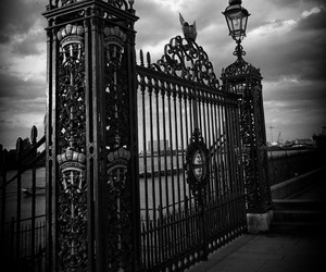 black and white, Darkness, and gate image