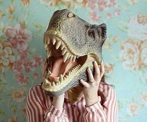 dinosaur, vintage, and flowers image