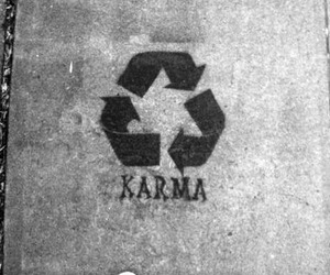 karma, black and white, and recycle image