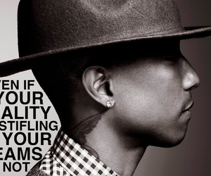black and white, fact, and Pharrell Williams image