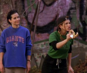 Courteney Cox, football, and Jennifer Aniston image