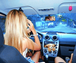 car, blonde, and girl image