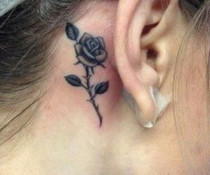 tattoo, behind ear, and rose image