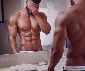 abs, mirror, and sexy image