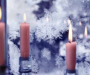 candle, winter, and snow image