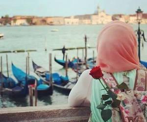hijab and sea image