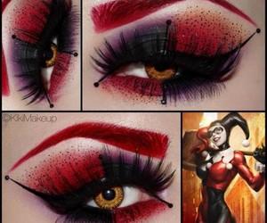 harley quinn, make up, and makeup image