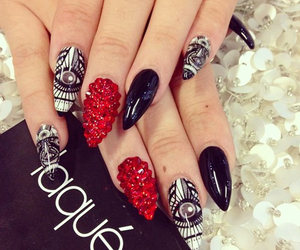 nails, beautiful, and red image