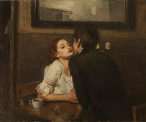 art, couple, and kiss image