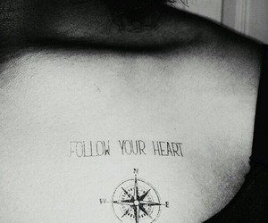 tattoo, compass, and follow your heart image