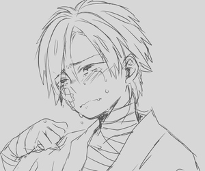 black and white, blush, and crying image