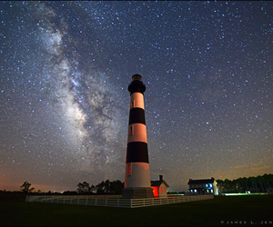hatteras, lighthouse, and milky way image