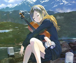 anime, lady, and violin image