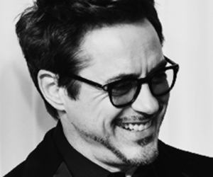 robert downey jr and blacn and white image