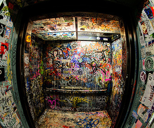 graffiti, elevator, and art image