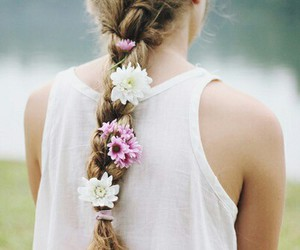 braid, flowers, and cute girl image