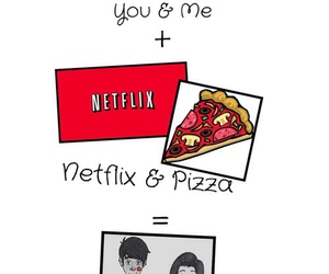 pizza, netflix, and love image