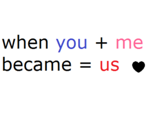 me, text, and us image