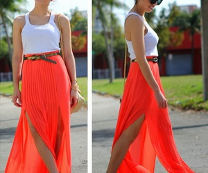 fashion, orange, and skirt image