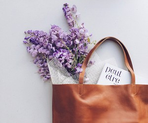 bag, flowers, and book image