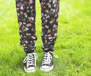 converse, flowers, and legs image