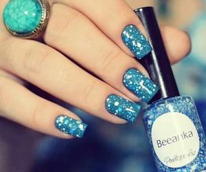 nails, blue, and esmalte image