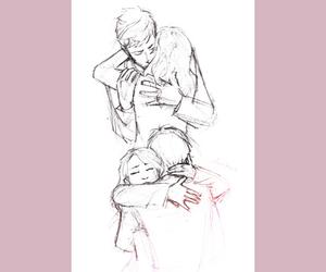 amor, drawing, and hug image