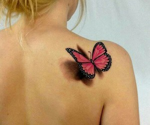 butterfly, tattoo, and girl image