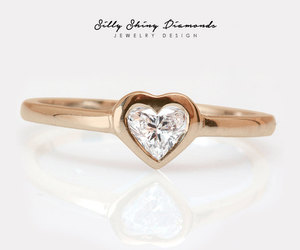 heart diamond, dainty ring, and heart diamond ring image