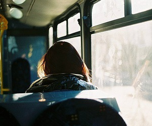 alone, girl, and bus image